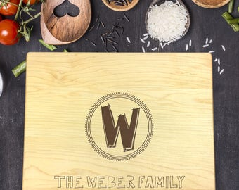 Personalized Cutting Board - Engraved Cutting Board, Custom Cutting Board, Wedding Gift, Housewarming Gift, Anniversary Gift, Name, B-0042