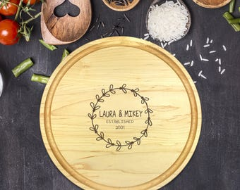 Custom Round Cutting Board, Personalized Round Cutting Board, Wedding Gift, Gift for Couple, Bridal Shower Gift, Christmas, Laurels, B-0084