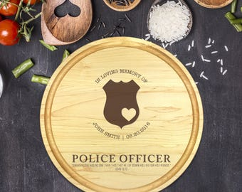 Engraved Cutting Board, Personalized Round Cutting Board, Wedding Gift, Gift for Couple, Bridal Shower, Christmas, Police Memorial, B-0109