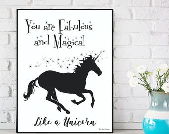 Unicorn poster, Unicorn print, Fabulous and magical like a unicorn, Bedroom wall decor, Kids decor, Nursery decor, Nursery print, Kids print