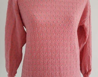 1980's vintage pink textured knit jumper