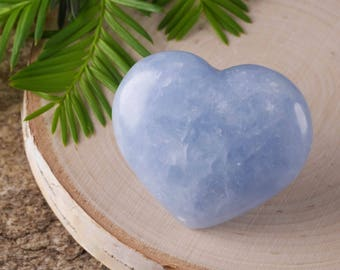 One Small Blue CALCITE Heart Shaped Stone - Blue Crystal Healing Stone, Heart Rock, Chakra Crystal, Heart Stone, Heart Chakra Stone E0461
