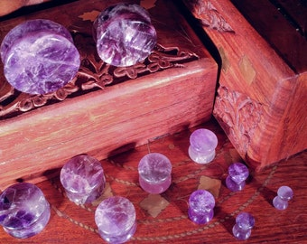 "Pair of Amethyst Stone Plugs up to 1""/25mm (25mm, 22mm, 19mm, 16mm, 14mm, 12mm, 10mm, 8mm, 6mm, 5mm, 4mm, 3mm)"
