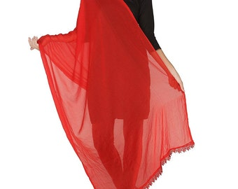 Free Shipping Red Chiffon Dupatta Long Stole Veil Stole Women Hijab Crochet Lace Sarong S20