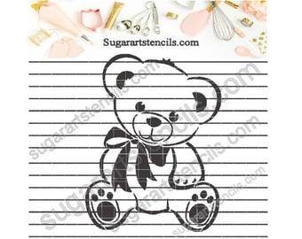 Teddy Bear cookie stencil baby shower NB900327