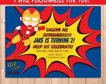 Iron Man Invitation, Iron Man Party Invitation, Iron Man Avengers Birthday Party Invitation, Boy Personalize for You