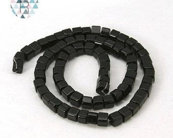 75 black cube 4mm glass beads