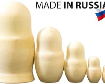 Blank Nesting dolls - Lot of 8 - Wooden UnPainted - MEDIUM SIZE - 5.75 inch-high (5 dolls in 1)