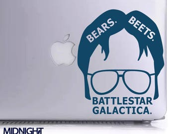 DWIGHT SCHRUTE / Bears Beets Battlestar Galactica QUOTE / The Office Inspired Vinyl Decal Sticker