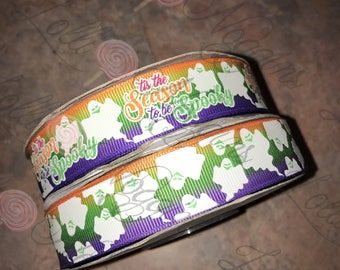 "Tis the Season to be Spooky    USDR 7/8"" ribbon   Coordinated grosgrain set for bows and crafts"
