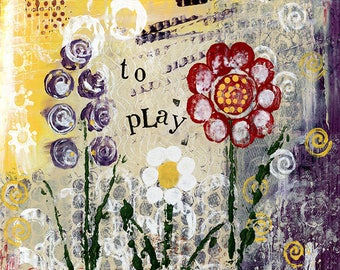 A4 Fine Art Print of 'Its okay to play' - from an original Mixed media painting by Karen Lindsay