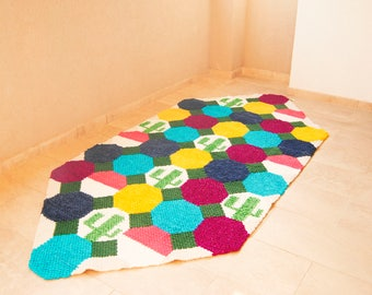 Handwoven Geometric rug, Big Area rug, Cactus rug, Boho rug, Living Room colorful rug, Contemporary Minimalist rug, Romanian decor, Bohemian