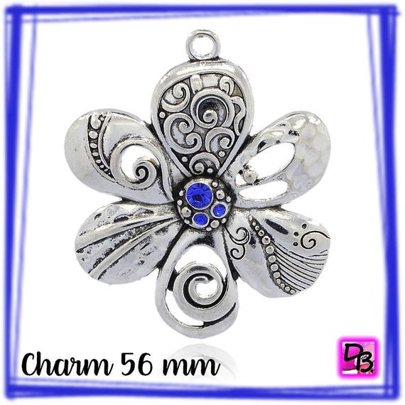 1 Pendentif Grande Fleur [Sapphire] 56 mm