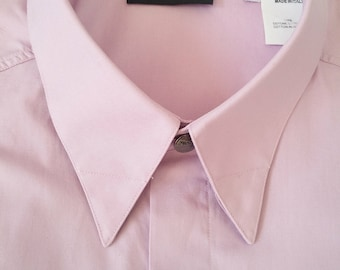 Vintage Versace Classic V2 lilac shirt with short sleeves and button down collar