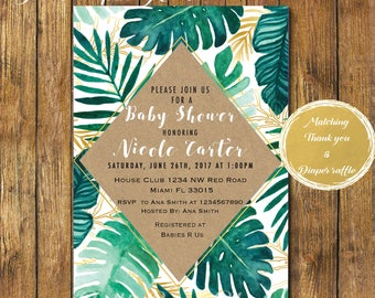 Digital file or Printed-Tropical Baby Shower Invitation-Palm Print-Banana Leaf-Tropical Leafs Invitation- Green Gender Neutral-Free Shipping