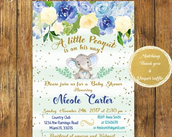 Digital file or Printed-Elephant Baby Shower Boy Invitation-Floral Elephant Invite-Printable Blue Elephant Baby Shower Invitation-Baby Boy-