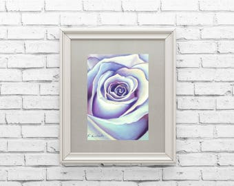Pastel drawing, purple rose, ooak, Original artwork, soft pastels on Pastelmat paper, mom birthday, contemporary art, bedroom decoration.