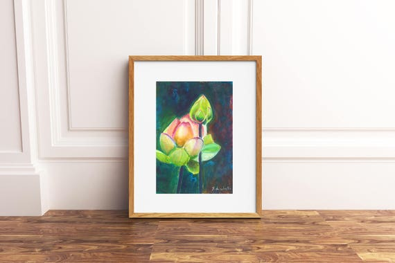 Lotus with bud, acrylic painting, meditation picture, gift idea for yoga lovers, yogi school decoration, office decore, bedroom wall art.