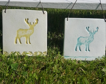Handmade Stag Clay Wall Hanging -Gift, Country
