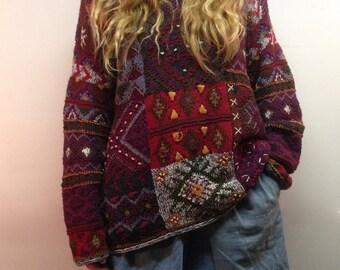 Vintage hand knit sweater / oversized knit sweater / oversized hippie sweater / hippie knit sweater