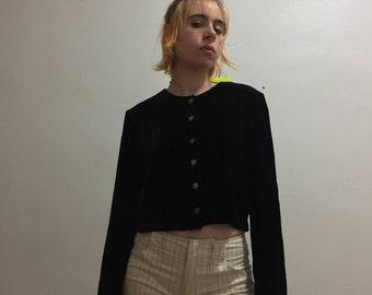 Short Black velvet top w/ long sleeve 1980s