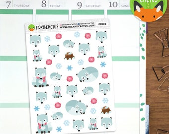 Winter Fox - Cold Floral Snow Ice Forest - Planner Stickers (C0002)
