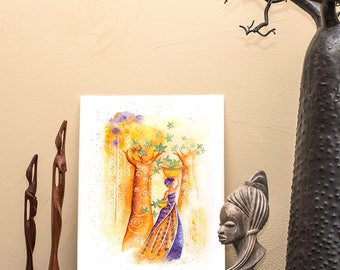 Leaves Sower- Drawing - Malagasy Illustration - Artprint - Print - African Design