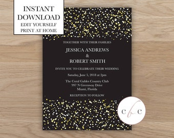 DIY Wedding Invitation/Instant Digital Download/Glitter
