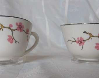 Peach Blossom coffee cups - set of 2 - by Knowles - Pretty peach blossoms on twigs