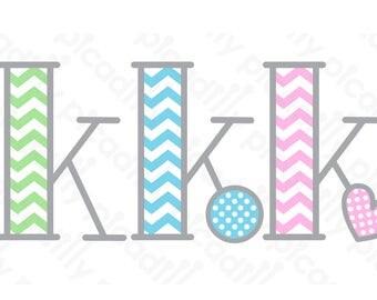 Chevron Monogram SVG PNG Picadilly Font Svg Cut File Chevron Font Initial K Baby Monogram K Baby Boy Digital File Baby Girl Heart svg