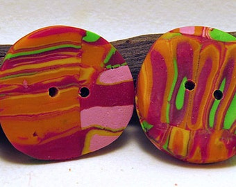 Buttons. Round striped buttons in a set of 2.