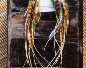 Feather Earrings #41 forest green white beige with crazy lace agate full long grizzly feather earrings