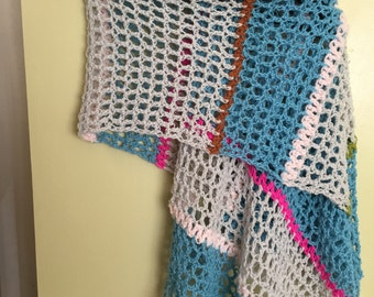 crocheted shawl of cashmere and silk yarn