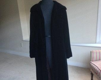 Vintage Black Velvet Long Opera Coat Belted 1960