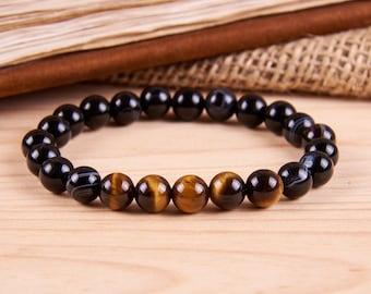 Tiger Eye Bracelet Mens Bracelet Mens Beads Bracelet - Mens energy bracelet with agate and tiger eye - Mens Jewelry Men Gift Boyfriend Gift.