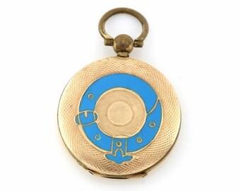 Victorian Gold Locket with Enamel Buckle Motif - Circa 1850