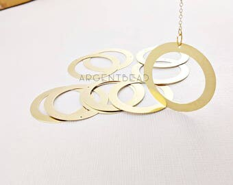 10pcs 38mm Raw Brass Circle Rings Links Connectors Geometry Minimalist  AG349
