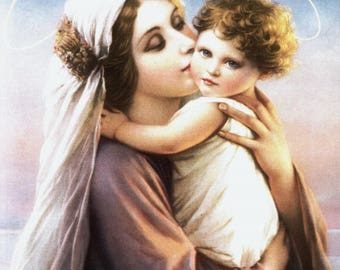Blessed Virgin Mary with Child Jesus - Madonna & Child 8x10 Art Deco Style Catholic Art Picture Print