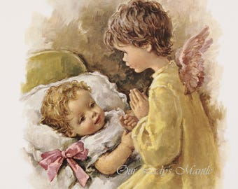 GUARDIAN ANGEL Watching Over a Baby - 8x10 Print Picture Art from Italy