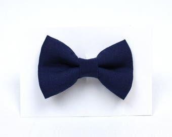 Navy Blue Linen Hair Bow