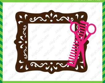 Hairdresser Picture Frame SVG DXF PNG eps Scissor comb Cut Files Cricut Design, Silhouette studio, Sure Cuts A Lot, Makes the Cut and more