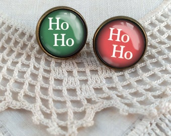 "Funky Mismatched Holiday Earrings in Red and Green ""Ho Ho Ho"""
