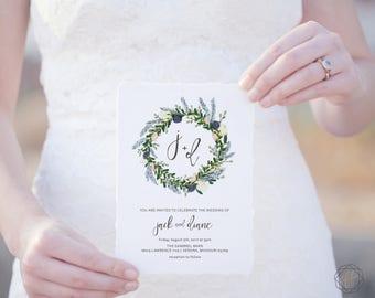 Boho Wedding Invites DIY Invitation Suite Printable Invite Set Rustic