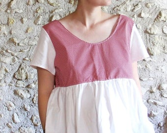 Retro red and white blouse with polka dots, pregnancy and bare back blouse, blouse / oversize tunic