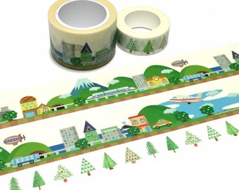 green landscape washi tape 10M country city Green hill ice mountain Masking tape city scenes super wild tape travel planner sticker decor