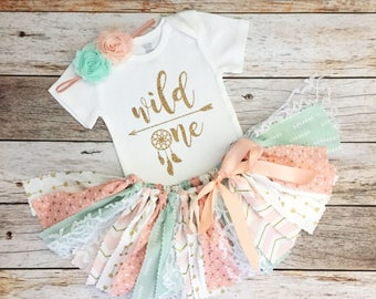 Peach, Mint and Gold Wild One Dreamcatcher Theme Birthday Outfit with Headband/Baby Girl Boho Theme First Birthday, Peach and Mint Tutu