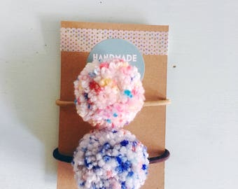 Pom Pom Hair Tie- Pom Pom- Hair Tie- Ponytail Tie- Ponytail- Pigtail Ties- Hair Accessories- Toddler- Girl- Gift for Her- Stocking Stuffer