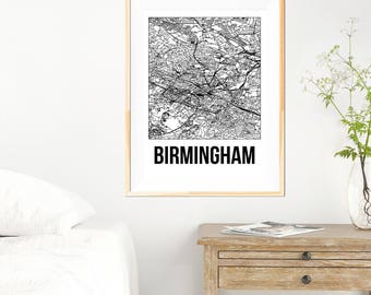 Birmingham City Map Print - Black and White Minimalist City Map - Birmingham Map - Birmingham Art Print - Many Sizes/Colours Available