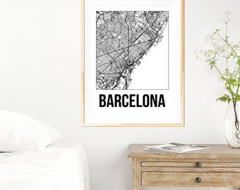 Barcelona City Map Print - Black and White Minimalist City Map - Barcelona Map - Barcelona Art Print - Many Sizes/Colours Available