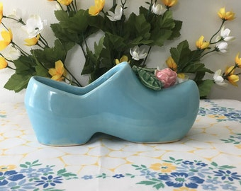 Vintage Mccoy Dutch Shoe Planter Mccoy Pottery Blue Ceramic